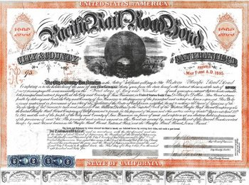 Pacific Railroad Bond issued because of the City and County of bay area in 1863